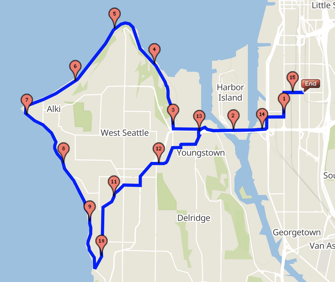 West Seattle 15 mile route